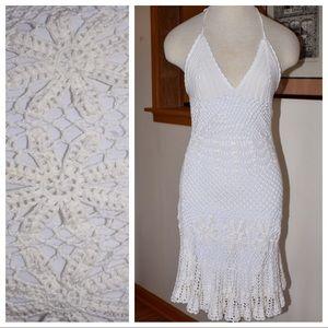 🆕Vintage 90s Crochet Halter Dress